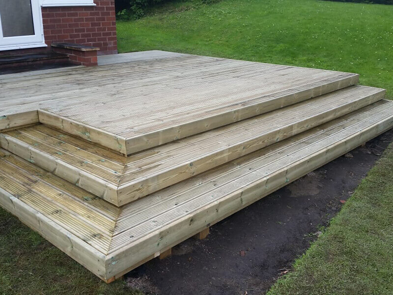 Stepped wooden decking in Mold