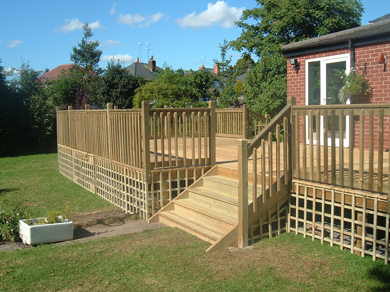 Decking with posts & rails