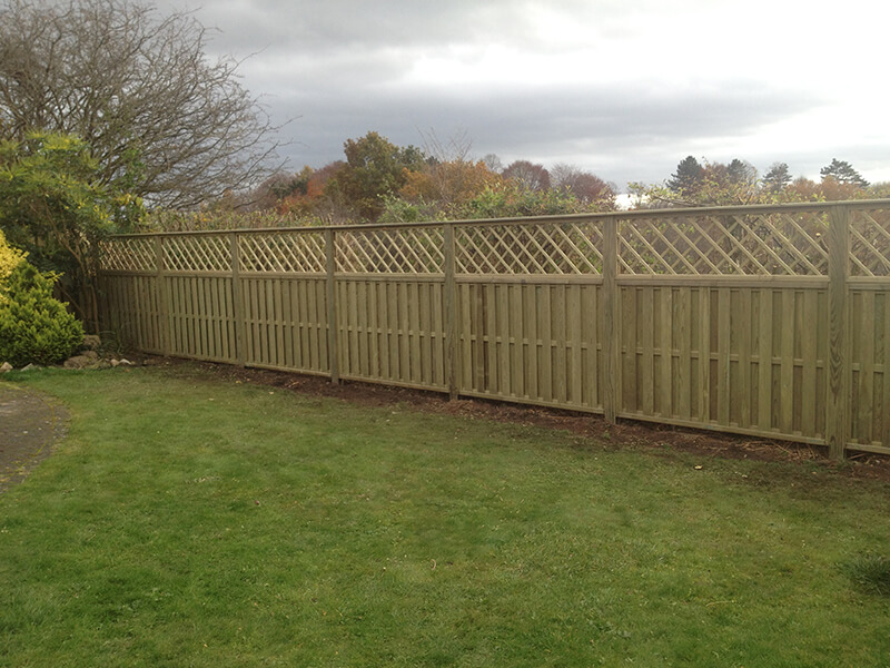 Hit and miss fencing with trellis