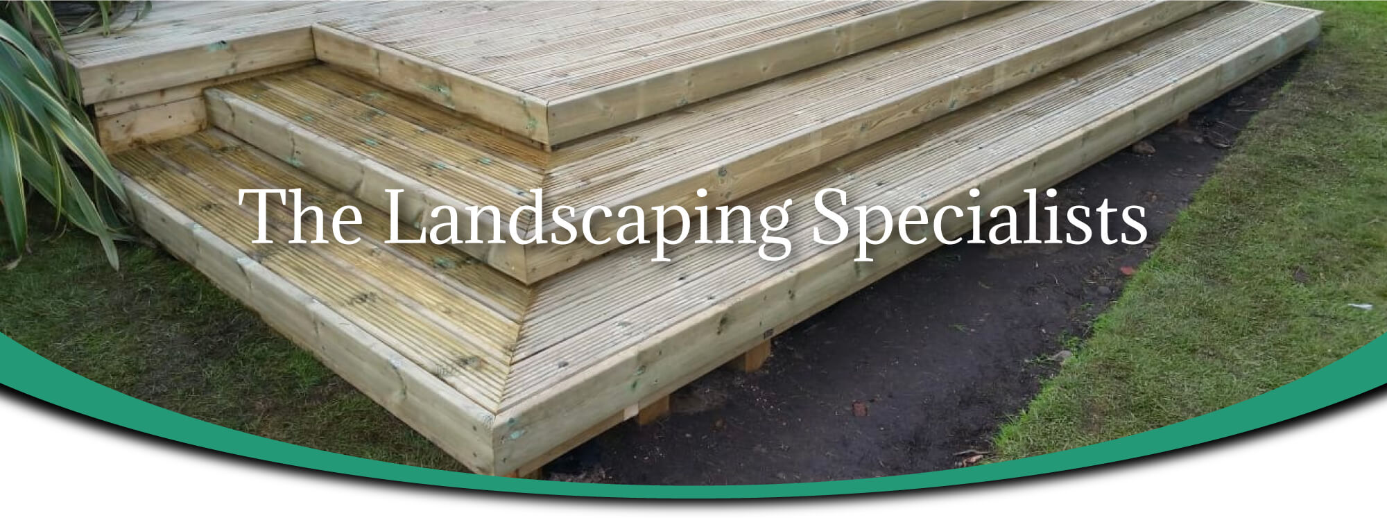 Wooden decking with steps