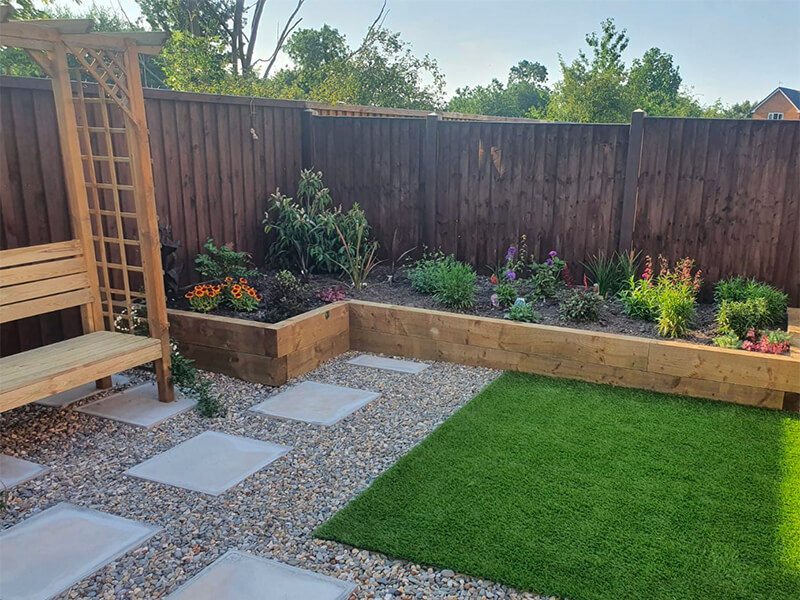 Soft and hard landscaping with artificial grass
